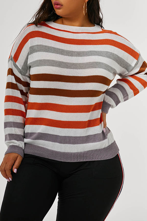 Lovely Casual Striped Grey Plus Size Sweaters