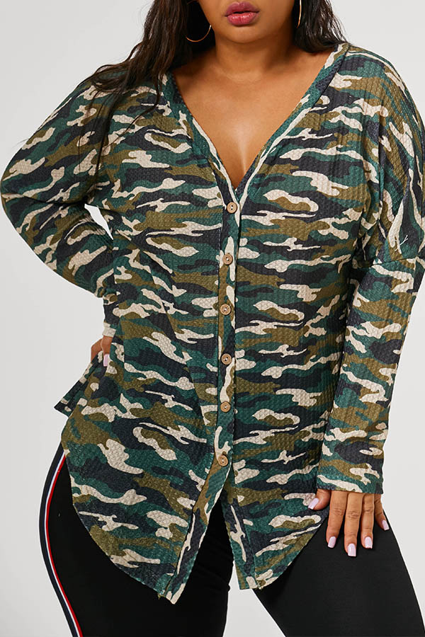 Lovely Casual V Neck Multicolor Plus Size Coat