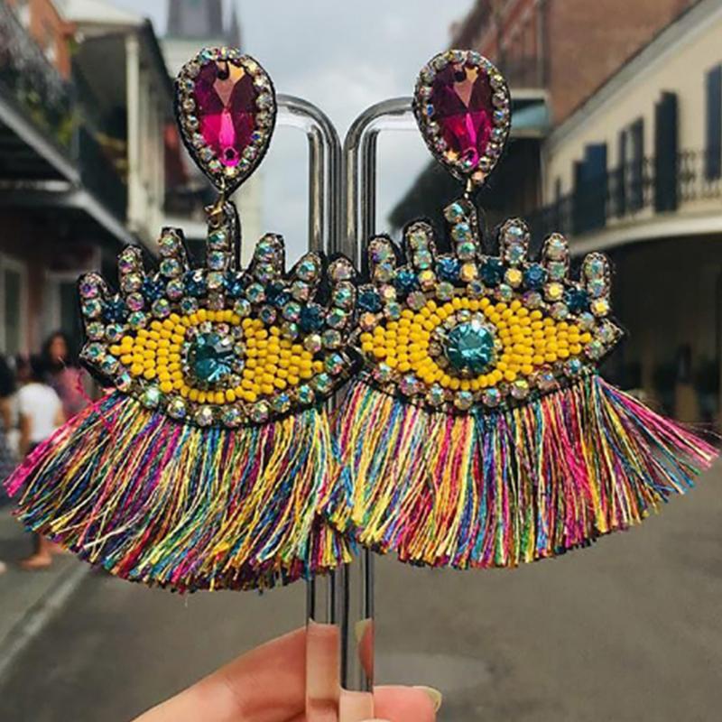 Lovely Trendy Tassel Design Multicolor Alloy Earring