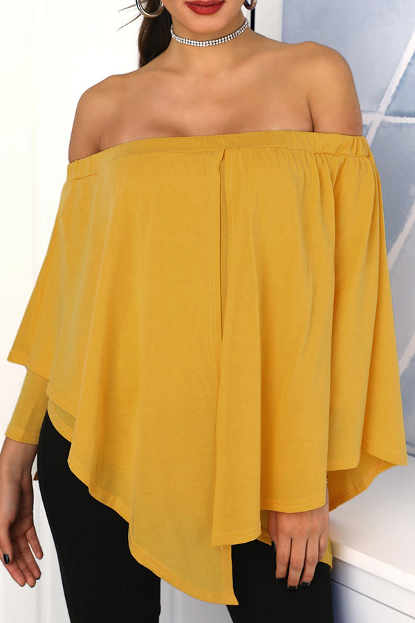 Lovely Trendy Dew Shoulder Yellow Blouse