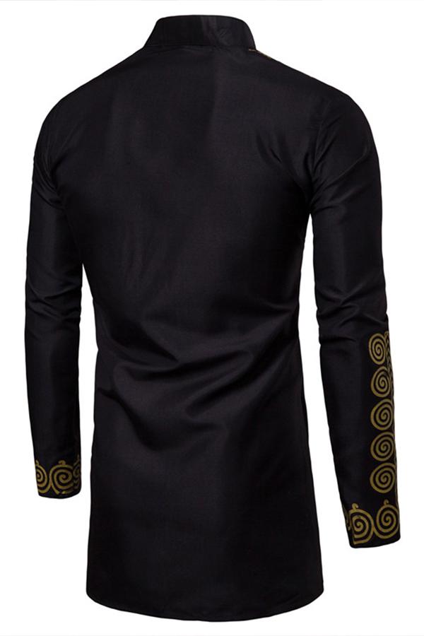 Lovely Casual Turndown Collar Printed Asymmetrical Black Shirt