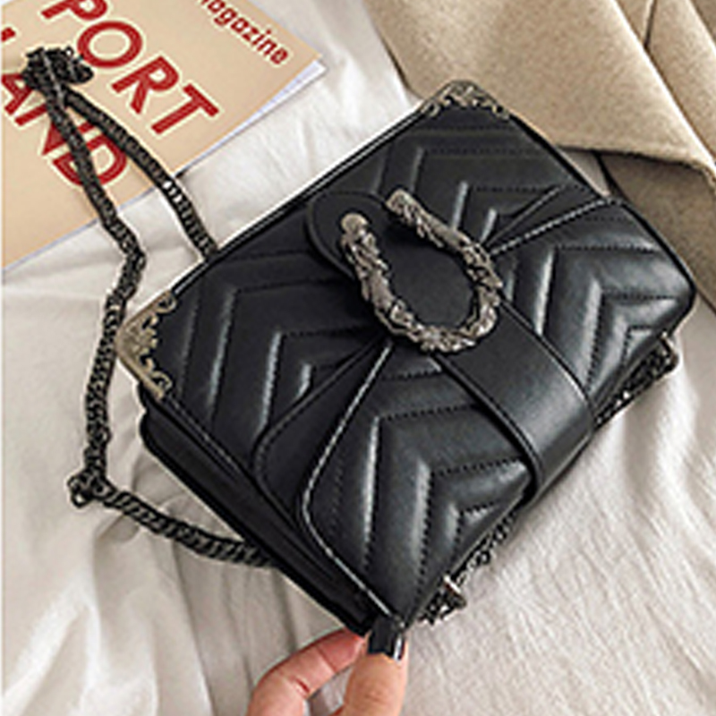 Lovely Casual Patchwork Black PU Messenger Bag