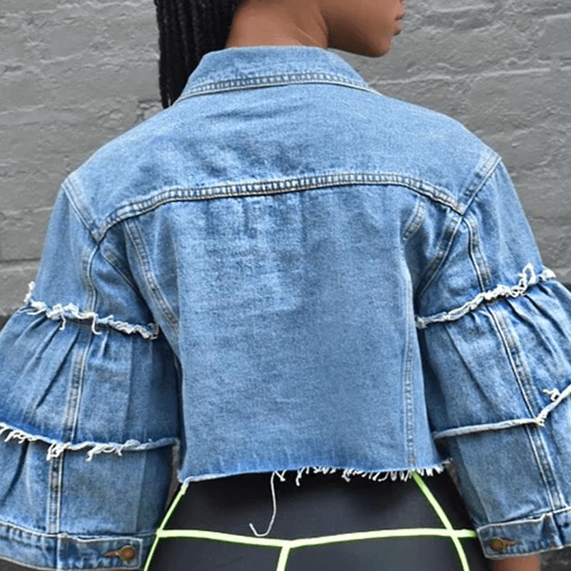 Lovely Casual Raw Edge Blue Denim Jacket