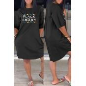 Lovely Casual Letter Printed Black Knee Length Dress
