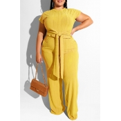 Lovely Casual Knot Design Deep Yellow Plus Size Tw