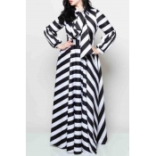Lovely Casual Striped Black Floor Length Plus Size