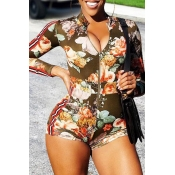 Lovely Trendy Floral Printed Multicolor One-piece