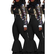 Lovely Leisure Flounce Design Black Two-piece Pant