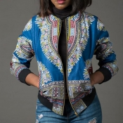 Lovely Casual Printed Blue Jacket