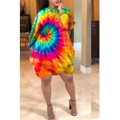 Lovely Casual Tie-dye Yellow Knee Length Dress