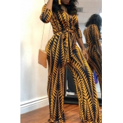 Lovely Casual Printed Yellow Jumpsuit