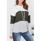 Lovely Trendy Hooded Collar Drawstring Army Green