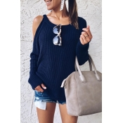 Lovely Dew Shoulder Blue Sweaters