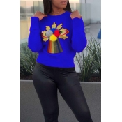 Lovely Leisure Patchwork Royal Blue Sweaters