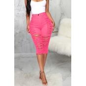 Lovely Leisure Broken Holes Pink Denim Shorts