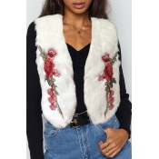Lovely Casual Embroidered Design White Vests