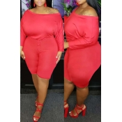 Lovely Casual Dew Shoulder Red Plus Size One-piece