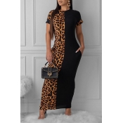 Lovely Casual Leopard Printed Patchwork Ankle Length Dress