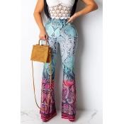 Lovely Trendy Printed Cyan Pants