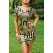 Lovely Casual Sequined Decorative Gold Mini Dress
