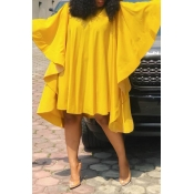 Lovely Chic Ruffle Design Loose Yellow Knee Length