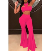 Lovely Trendy Sleeveless Rose Red Flared Two-piece