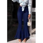 Lovely Stylish High Waist Zipper Design Deep Blue