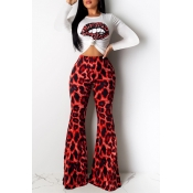 Lovely Casual Leopard Printed Red Two-piece Pants Set