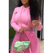 Lovely Casual Hooded Collar Pink Hoodies
