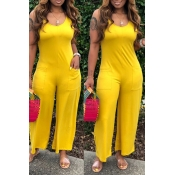 Lovely Casual Pocket Patched Yellow One-piece Jumpsuit