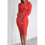 Lovely Casual Turtleneck Ruffle Design Red Knee Le