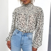 Lovely Sweet Turtleneck Dot Printed White Blouse