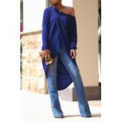 Lovely Casual Asymmetrical Royal Blue Blouse