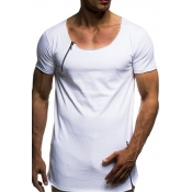 Lovely Casual Zipper Decorative White T-shirt