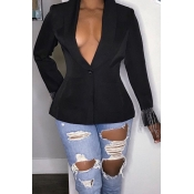 Lovely Casual Tassel Design Black Blazer