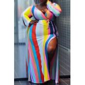 Lovely Casual Striped Slit Multicolor Floor Length