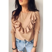 Lovely Casual Flounce Design Khaki Blouse