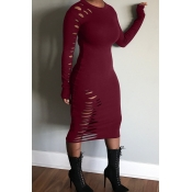 Lovely Casual Hollow-out Wine Red Mid Calf Dress