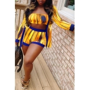 Lovely Leisure Printed Yellow Two-piece Shorts Set
