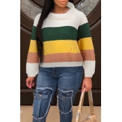 Lovely Trendy Color-lump Patchwork Green Sweaters