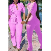 Lovely Casual Lace-up Pink One-piece Jumpsuit