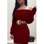 Lovely Sweet Dew Shoulder Wine Red Mini Dress(With