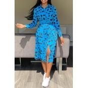 Lovely Trendy Turndown Collar Printed Blue Mid Cal