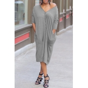 Lovely Trendy Pockets Design Grey Mid Calf Dress