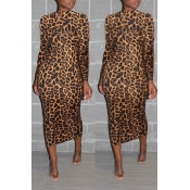 Lovely Casual Leopard Printed Brown Mid Calf Dress
