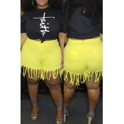 Lovely Casual Tassel Design Yellow Plus Size Short