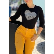 Lovely Casual Hot Drilling Decorative Black T-shir
