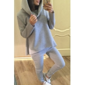 Lovely Leisure Hooded Collar Basic Grey Two-piece