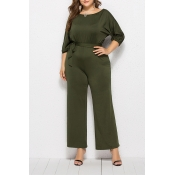 Lovely Casual Hubble-bubble Sleeves Army Green Plu