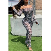 Lovely Sexy Printed Light Grey Two-piece Pants Set